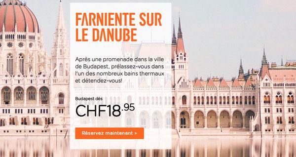 Publicité d'Easyjet pour un vol Genève - Budapest