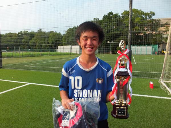 大会MVPの小島 茉那斗 柏レイソル戦でのミドルシュートが決め手だったのでしょうか!? おめでとう!
