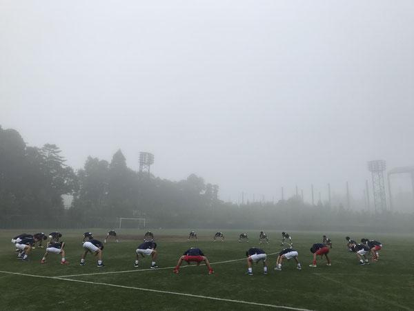 朝一は霧が立ち込めていました。