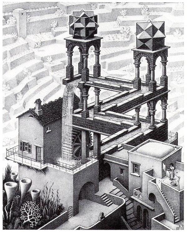 Beispiel Parallelperspektive: M. C. Escher: Der Wasserfall
