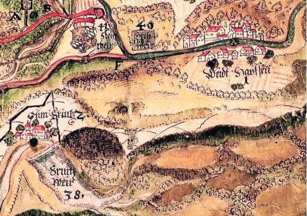 Vor allem das ehemalige Schloss von Pfrentsch (links) gibt die bislang als älteste Ansicht bekannte Landkarte aus dem Jahr 1589 im Bestand des Stadtarchivs Weiden wieder. Darüber hinaus sind der Pfrentschweiher und Waidhaus als Miniatur abgebildet.Rep:fjo