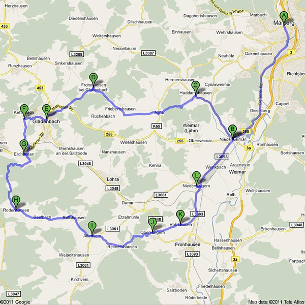 Gladenbachrunde ca. 48 km