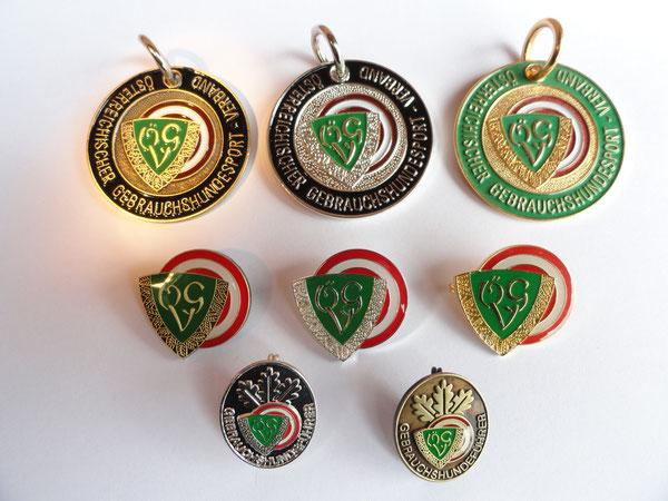 Ausbildungskennzeichen Bronze IPO1, Silber IPO2, Gold BGH3, Leistungsabzeichen Bronze, Silber, Gold, Hundeführerabzeichen Silber + Bronze