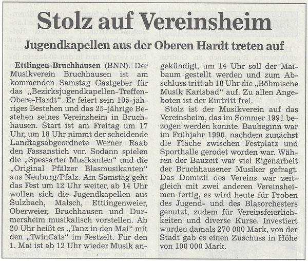 """BNN Vorbericht """"Das Geburtstagsfest 105 Jahre Musikverein - 25 Jahre Vereinsheim"""" 27.04.2016"""