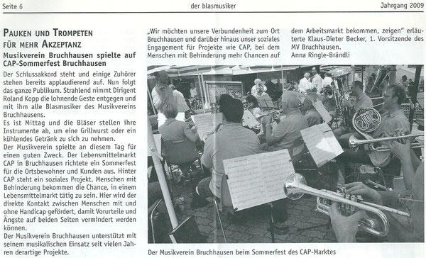 """""""der blasmusiker"""" Bericht 2009"""