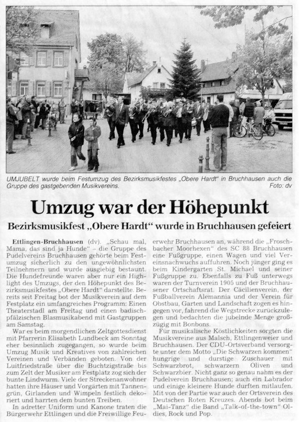 """BNN Bericht 02.05.2006 """"95 Jahre Musikverein Bruchhausen"""""""