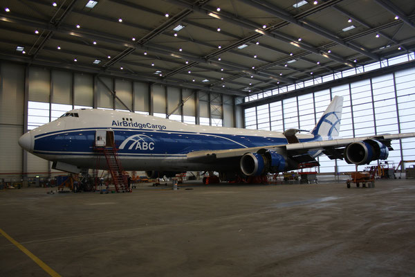 The capacity of the Volga-Dnepr/AirBridge Cargo hangar at Leipzig airport shall be doubled once the An-124 modernization program is kicked off  /  source: hs