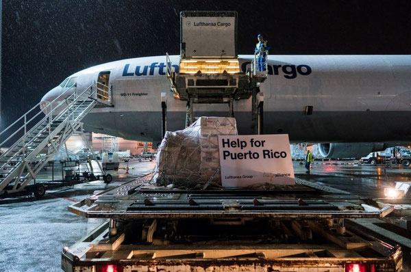 Loading of relief goods at FRA on board a LH Cargo MD-11F bound for Puerto Rico