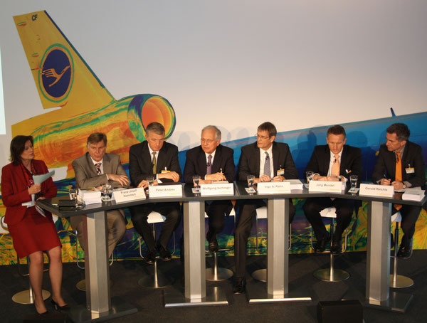 Panelists (l > r): Sabine Wiedemann, Moderator / Franz-Josef Hammerl, Federal Police /  Peter Andres, Lufthansa / Wolfgang Ischinger, Munich Security Conference / Ingo A. Rahn, DHL GF / Joerg Mendel, German Aviation Authority / Gerold Reichle, FMI
