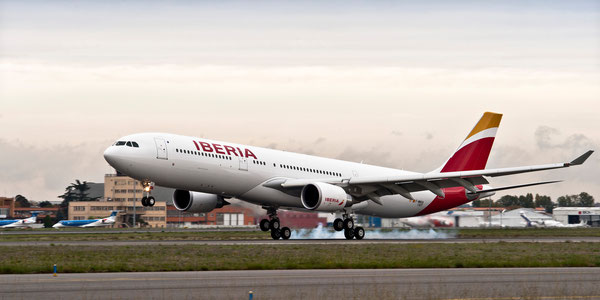 Iberia will operate A330 (pictured here) and A340 to Santo Domingo and Montevideo  /  source: IAG Cargo