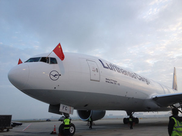 Ni Hao, China, Lufthansa Cargo's third Tripple Seven Freighter, is operated on the route Frankfurt-Shanghai / source: LH Cargo