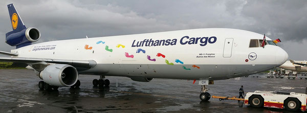 """I warmly thank Lufthansa Cargo for their generosity to repaint an MD-11 freighter, displaying the footsteps of young children cared of by Mothers' Mercy Home,"" stated Fokko Doyen. The aircraft will be the international ambassador of Cargo Human Care (CHC"