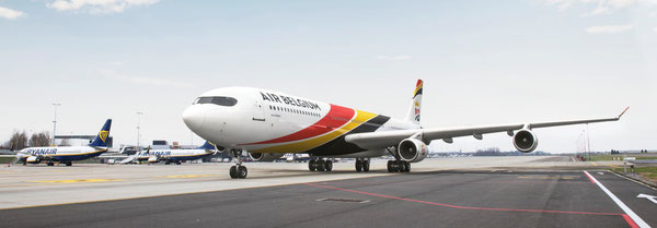 Air Belgium, displaying the country's national colors on its fuselage, will operate four Airbus A340s