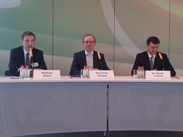 Presented LH Cargo's 2013 results and the 2014 outlook (from l > r): Head of Corp. Comm. Matthias Eberle, CEO Karl Ulrich Garnadt, CFO Martin Schmitt  /  source: hs