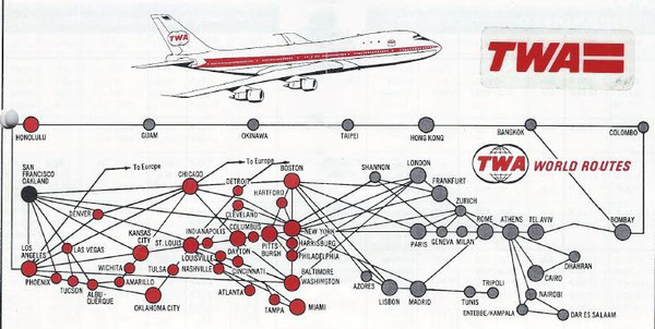 TWA offered an eastbound and westbound round-the-world service via FRA  /  source: archive