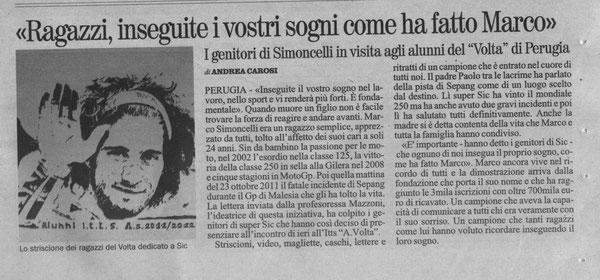 """Da """"Il Giornale dell'Umbria"""" del 9/3/12. L'autore è Andrea Carosi, studente del Volta"""