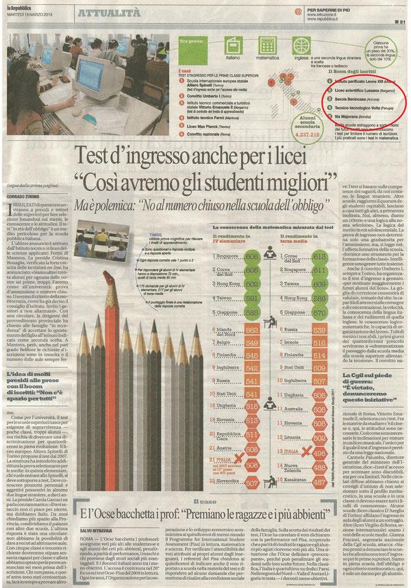 L'articolo di Repubblica a pag. 21. Nel cerchio rosso in alto le cinque scuole con più iscritti in Italia tra cui il Volta di Perugia
