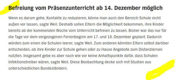 Auszug aus der Presseerklärung Minister Weil vom 10.12.2020 / Quelle: ndr.de