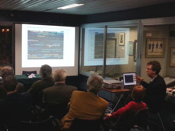 Il Dott. Andrea Borgnino IWØHK mentre illustra le applicazioni digitali alla telegrafia