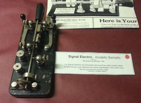 Sematic Key, made by Signal Electric Co.  a versatile key used as Bug or Sideswiper.  1928