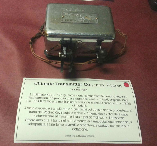 Ultimate Transmitter Co.  common named Utlimate key or 73 bug. Mini version.  1920