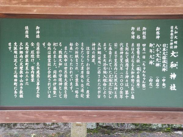 大和神社の境内案内板