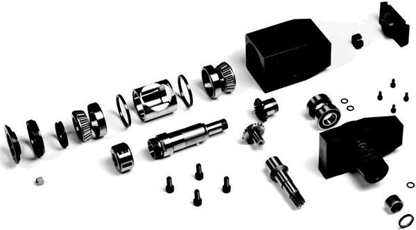 Darstellung der Einzelteile eines angetriebenen Werkzeuges