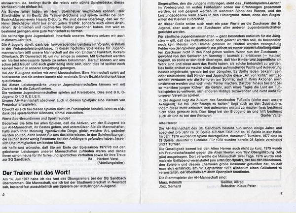 SG SANDBACH  Zeitung SPIELJAHR 1977-78 -02