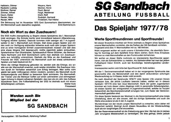 SG SANDBACH  Zeitung SPIELJAHR 1977-78 -01