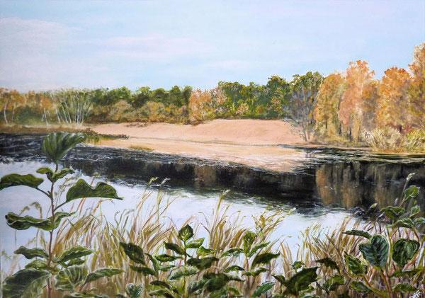Cluvenhagener See, 80x60cm, Acryl auf Leinwand