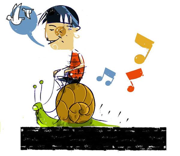 Sin prisa pero sin pausa.      Ilustración de Ignacio Gozález