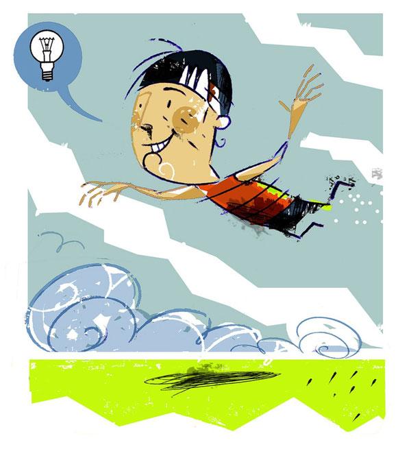 La imaginación te hace volar.            Ilustración de Ignacio González