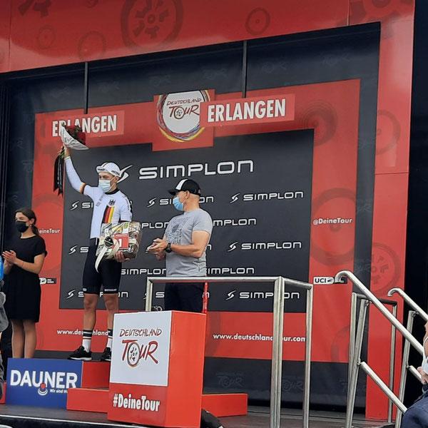 Deutschland Tour 3. Etappe -Siegerehrung in Erlangen - Auszeichnung als aktivster Fahrer