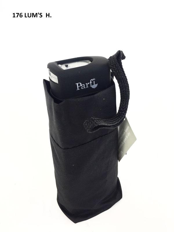 176 Parfi Lum's, plat met LED licht in handvat, manuele opening, effen zwart