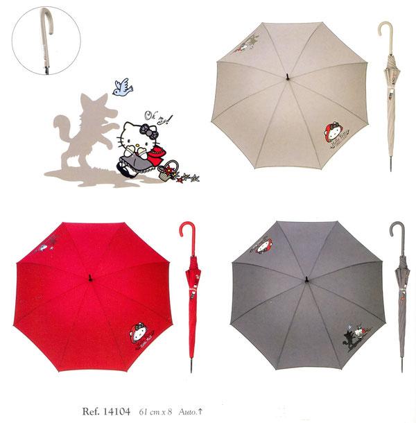 14104 Lange paraplu Hello Kitty automatisch verkocht per set van 3 kleuren