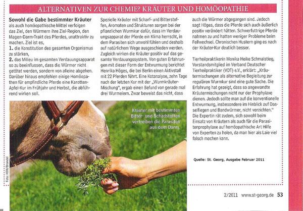 """Bericht in der Fachzeitschrift """"St. Georg"""" Februar 2011"""