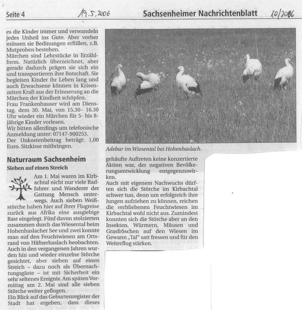 Nachrichtenblatt vom 19.05.2006 über Störche im Naturraum Sachsenheim