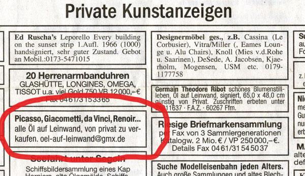 """Thilo Droste, """"Annonce"""" (FAZ, 7./8.2.2009), gerahmt 8 x 11 cm, 2009"""