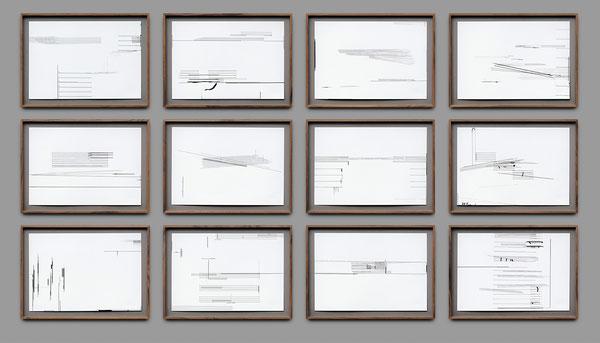 Harriet Groß, Fuge II (001-012), 12-teilig, 2018, Tuschezeichnungen, je 33 x 48 cm