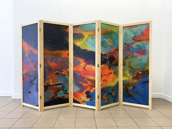Natura naturans / Cielo, 160x250 cm, Mischtechnik auf Holz, 2020