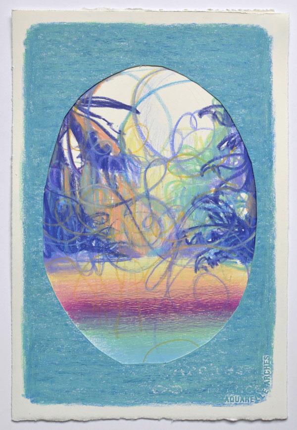 "Matthias Moravek, ""Arabesque IV"", Kreide auf Arches-Papier, 19x29 cm, 2021"