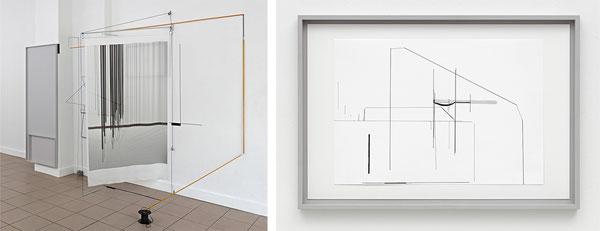 Harriet Groß, Odradek, 2018, Raumzeichnung mit Zeltstangen, Tape, C-Print auf japanischer Seide, Holzrahmen mit Tuschezeichnung, Gummi, Metall