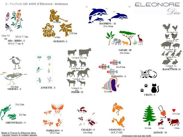 Les pochoirs animaux, terre et mer