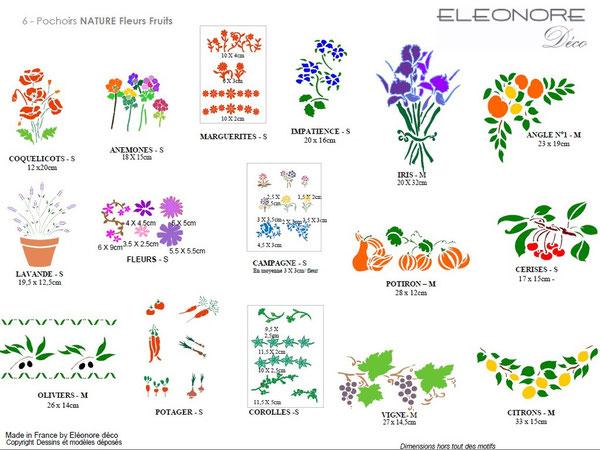Les pochoirs nature fleurs et fruits