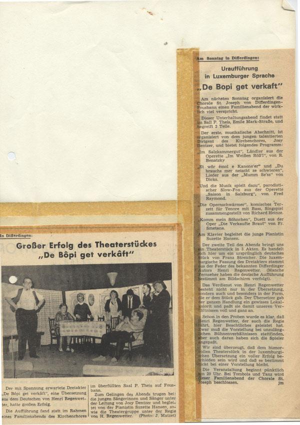 Zeitungsartikel zum Theaterstück
