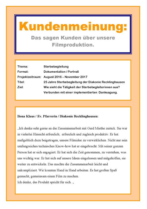 Gerd Miethe City TV Filmproduktion Marl Polsum Sterbebegleitung