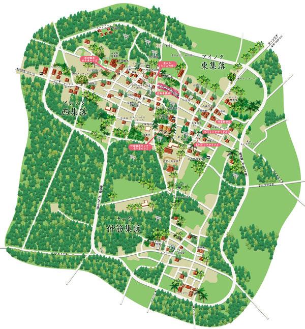 竹富島イラストマップ