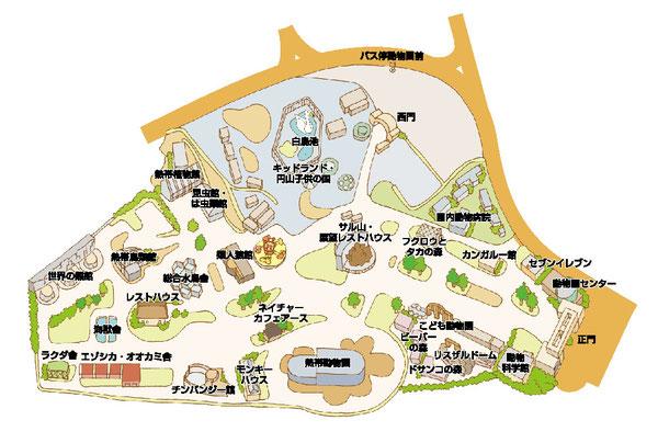円山動物園イラストマップ