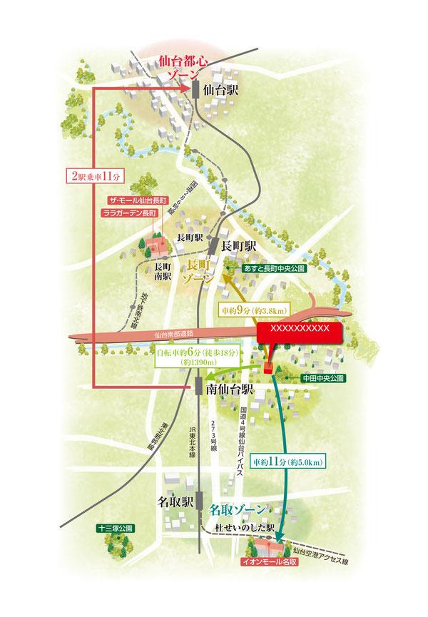 仙台地図,南仙台地図,名取地図
