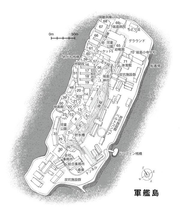 端島,軍艦島マップ,軍艦島地図